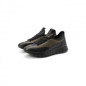 Кожаные кроссовки Bikki Bally. Цвет: хаки