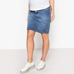 Юбка прямая из джинсовой ткани для периода беременности LA REDOUTE MATERNITÉ. Цвет: белый,синий потертый