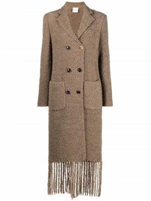 Двубортное пальто с бахромой Alysi. Цвет: коричневый