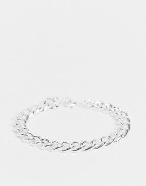 Браслет-цепочка со звеньями толщиной 9 мм и покрытием из серебра -Серебристый ASOS DESIGN