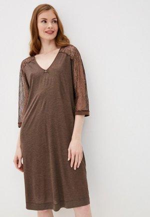 Платье домашнее Laete. Цвет: коричневый