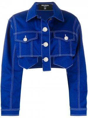 Укороченная джинсовая куртка Balmain. Цвет: синий