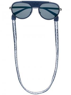 Солнцезащитные очки-авиаторы в круглой оправе Dolce & Gabbana Eyewear. Цвет: черный