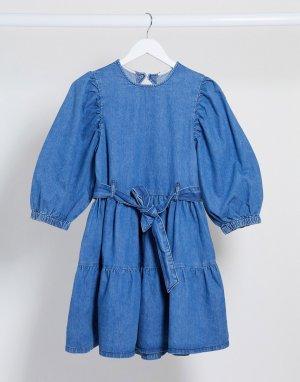 Синее джинсовое свободное платье мини -Синий ASOS DESIGN