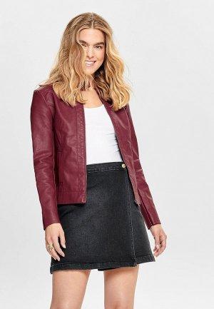 Куртка кожаная Jacqueline de Yong. Цвет: бордовый