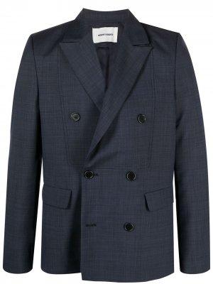Двубортный клетчатый пиджак HENRIK VIBSKOV. Цвет: синий