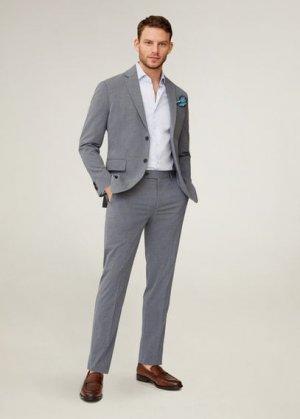 Костюмный пиджак slim fit с мелкой фактурной выделкой - Brasilia Mango. Цвет: серый