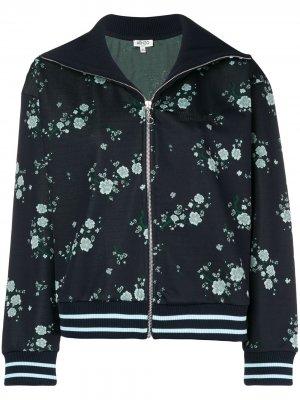 Куртка-бомбер с цветочным принтом Kenzo. Цвет: синий