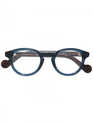 Очки в круглой оправе Moncler Eyewear. Цвет: зелёный