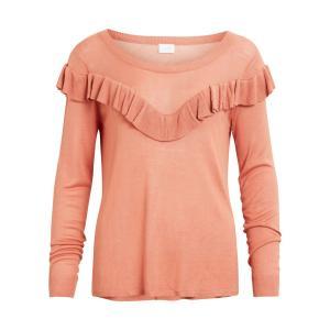 Пуловер с круглым вырезом, из тонкого трикотажа VILA. Цвет: розовый