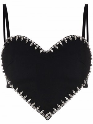 Heart-shaped studded top AREA. Цвет: черный