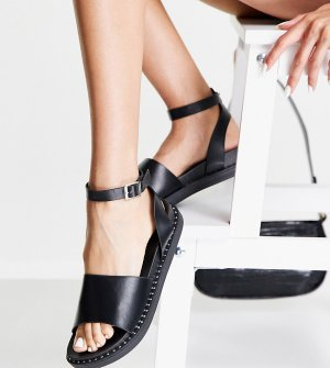 Черные сандалии на толстой подошве с ремешком щиколотке -Черный цвет Glamorous Wide Fit