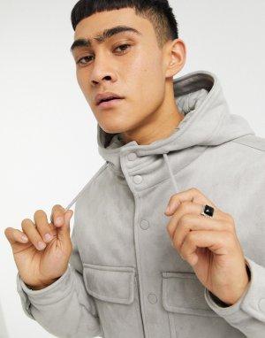 Серая утепленная куртка из искусственной замши с капюшоном -Серый ASOS DESIGN