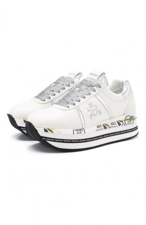Кожаные кроссовки Beth Premiata. Цвет: серебряный