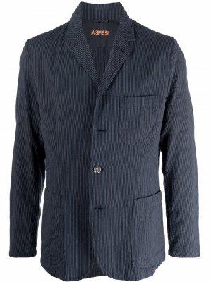Однобортный пиджак в тонкую полоску Aspesi. Цвет: синий