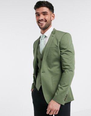 Оливковый супероблегающий пиджак из эластичного хлопка -Зеленый цвет ASOS DESIGN