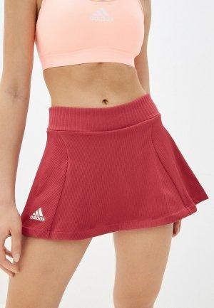 Юбка-шорты adidas T KNIT SKIRT. Цвет: розовый