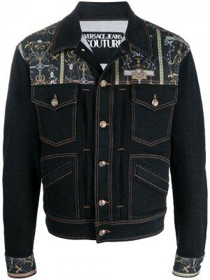 Джинсовая куртка с принтом Barocco Versace Jeans Couture. Цвет: черный