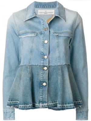 Джинсовая куртка с баской контрастного оттенка Golden Goose Deluxe Brand. Цвет: синий