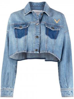 Укороченная джинсовая куртка Valentino. Цвет: синий