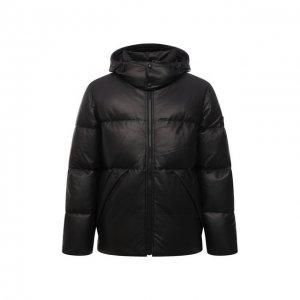 Кожаная пуховая куртка Yves Salomon. Цвет: чёрный