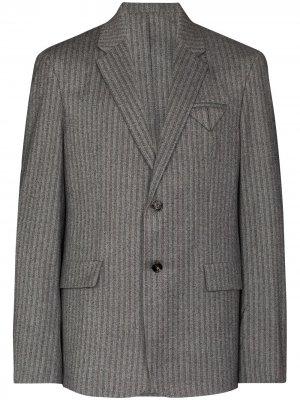 Пиджак с узором в елочку Bottega Veneta. Цвет: серый