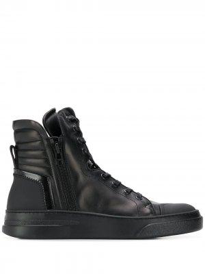 Высокие кеды на шнуровке Bruno Bordese. Цвет: черный