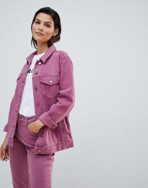 Свободная джинсовая куртка в стиле вестерн French Connection. Цвет: розовый