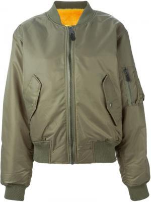 Куртка-бомбер с норковой подкладкой Liska. Цвет: зелёный