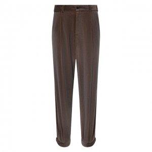 Хлопковые брюки Giorgio Armani. Цвет: коричневый