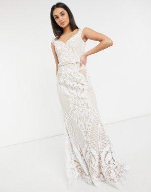 Белое свадебное платье с открытыми плечами -Белый Jovani