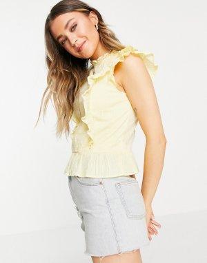 Желтая блузка с коротким рукавом оборками -Желтый Pimkie