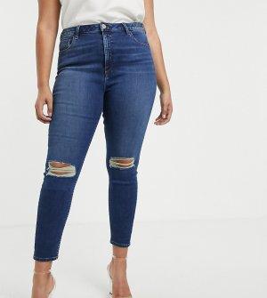 Темно-синие выбеленные зауженные джинсы с рваными коленями ASOS DESIGN Curve Ridley-Синий