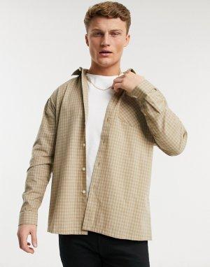 Светло-бежевая oversize-рубашка в клетку Topman-Бежевый New Look