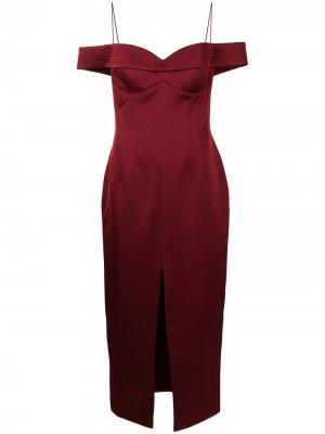 Платье миди с открытыми плечами RASARIO. Цвет: красный