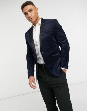 Темно-синий однобортный пиджак зауженного кроя из бархата Topman