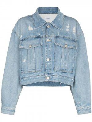 Укороченная джинсовая куртка с логотипом Givenchy. Цвет: синий