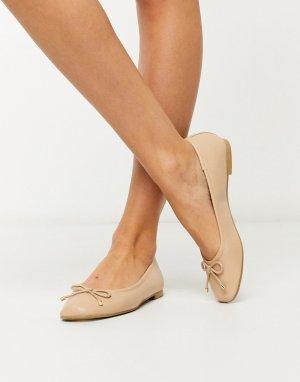 Бежевые балетки -Нейтральный Topshop