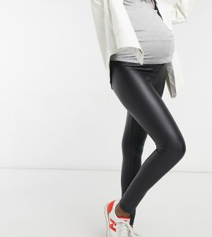 Черные леггинсы из искусственной кожи с эффектом мокрой ткани -Черный цвет New Look Maternity