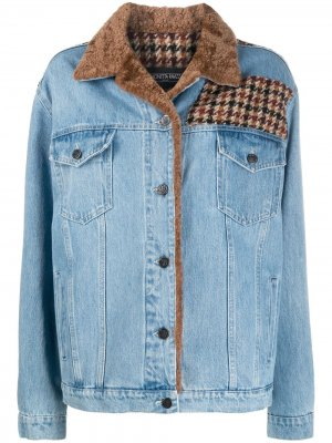 Джинсовая куртка Caio со вставками в ломаную клетку Simonetta Ravizza. Цвет: синий