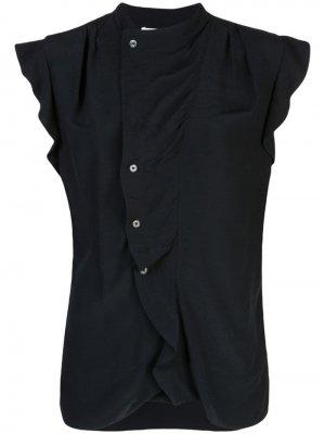 Блузка с асимметричной планкой и короткими рукавами Derek Lam 10 Crosby. Цвет: черный