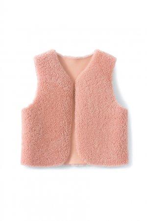 Меховой розовый жилет Poppy Bonpoint. Цвет: розовый