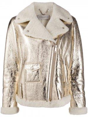 Байкерская куртка Assia Golden Goose. Цвет: золотистый