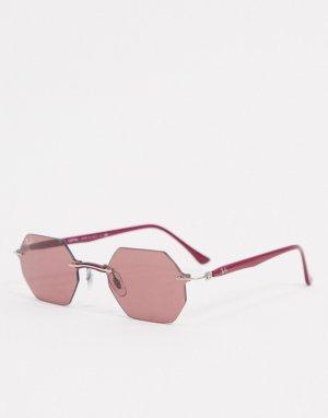 Узкие солнцезащитные очки без оправы с фиолетовыми шестиугольными линзами -Фиолетовый Ray-Ban