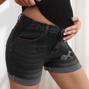 Джинсовые рваные шорты для беременных SHEIN. Цвет: светло-серый