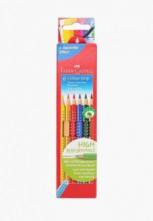 Набор для творчества Faber-Castell карандаши цветные Grip, 6 цветов, трехгранные. Цвет: разноцветный
