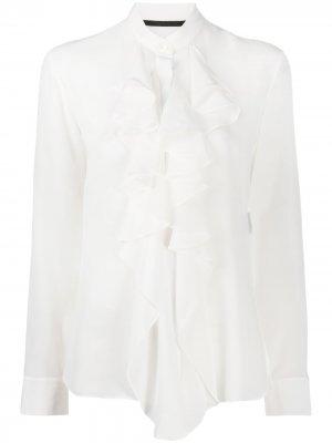 Блузка с длинными рукавами и оборками Haider Ackermann. Цвет: белый