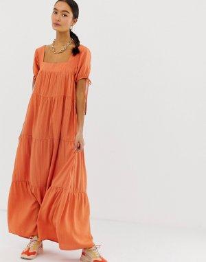 Платье макси с завязками на рукавах Emory Park. Цвет: оранжевый