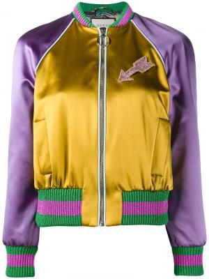 Куртка-бомбер с вышитым котом Gucci. Цвет: многоцветный
