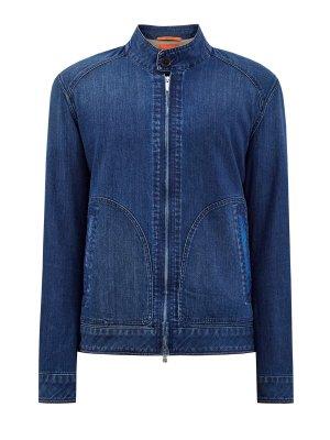 Куртка из окрашенного вручную денима с кожаной отделкой CORTIGIANI. Цвет: синий